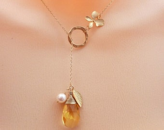 THE SUN GARDEN - Swarovski Citrine Crystal Pearl Orchid Leaf Lariat Necklace in 14k Gold Filled Chainion is also available)