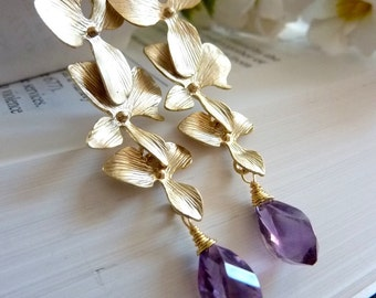 Purple Brazil Amethyst Golden Triple Orchid Earrings (Sterling Silver Version is also available)
