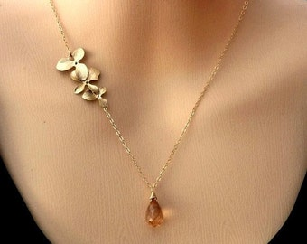 CHAMPAGNE Quartz Golden Triple Orchid Flowers Necklace in 14k Gold Filled Chain