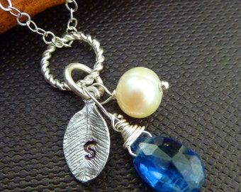 CUSTOM Stone and Initial - Blue KYANITE, Pearl, Custom Initial Leaf Necklace in Sterling Silver Chain