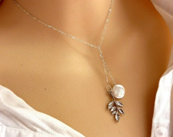 White Coin Fresh Water Pearl and  Leaf Branch Lariat Necklace in Sterling Silver Chain - Great Bridesmaid or Birthday Gift