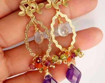 Purple Amethyst Gems Cluster Chandelier Earrings