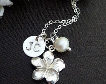 STERLING SILVER Frangipani, Custom Initials Sterling silver Disc, Pearl Necklace in Sterling Silver Chain