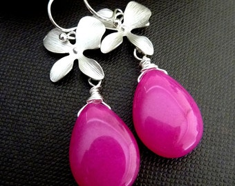 Custom Stone Earring - Hot Pink Chalcedony Jade, Orchid Flower Silver Earrings