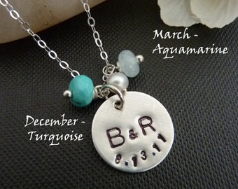 PERSONALIZED Sterling Silver Disc (2 Initials, date), 2 Custom Birthstones , Pearl Necklace in Sterling Silver Chain