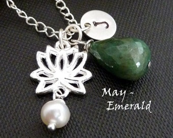 Custom Initial and Stone - Green Emerald, Sterling Silver Custom Initial Disc, Lotus Flower, Pearl Necklace in Sterling Silver Chain