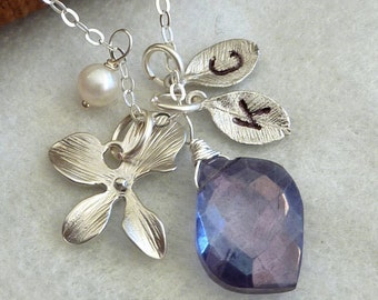 Custom Stone and Initial - Iolite Blue Mystic Quartz, 2 Custom Leaf, Pearl Necklace in Sterling Silver Chain