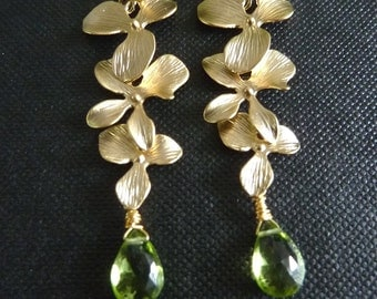 Custom Stone  Earring - Green Peridot ,Triple Orchid Flower Golden Earrings
