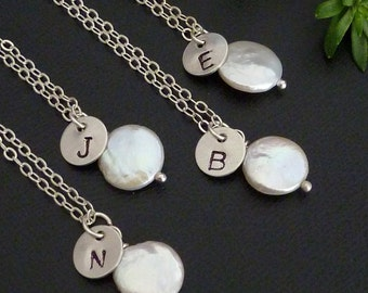 SET of 4 Necklaces - Custom Initial Sterling Silver Disc, Coin Pearl Necklace in Sterling Silver Chain
