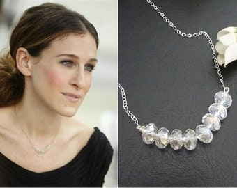 CARRIE BRADSHAW Inspired Necklace- Mystic Crystal Necklace in Sterling Silver Chain (Pick Your Color)