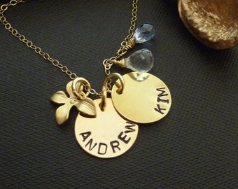 PERSONALIZED Charm and Birthstone - 2 Personalized Gold Charm, 2 Birthstones, 1 Golden Orchid Necklace in 14k Gold Filled Chain