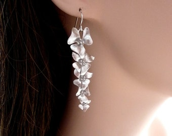 Awesome Long  5 Lily Flowers Sterling Silver Earrings