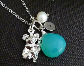 Custom Stone and Initial - Tuquoise Blue Chalcedony, Custom Initial Disc, Koala, Pearl Necklace in Sterling Silver Chain