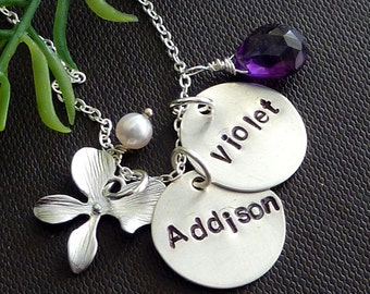 2 Personalized Sterling Silver Name Charms,  Custom Stone, Orchid Flower, Pearl Necklace in Sterling Silver Chain