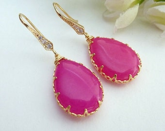 Ruby Pink Quartz in Bezel Setting with 16K Gold Plated Cubic Zirconia Earrings