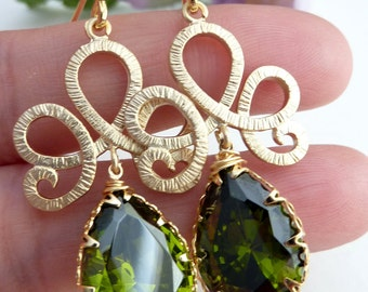 Olive Green CZ Peardrop Crystal with Gold Plated Scrolled Oriental Pendant Earrings