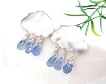 Rain Cloud Earrings Blue Rain Purple Rain Blue Topaz Quartz with White Gold Plated Cloud Post Earrings