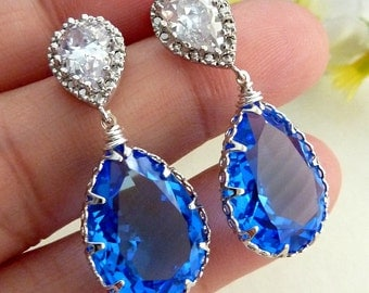 Swarovski Crystal  Sapphire Blue Topaz  (Unfoiled Backing) with White Gold Plated Teardrop CZ Post Earrings