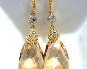 Golden Shadow Swarovski Pear Drop Crystal, CZ Round Drop with Golden CZ Earrings