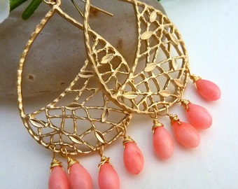 PINK CORALS Gold Plated Large Peardrop Leaf Fancy Chandelier Earrings - Only a Few Pairs Left