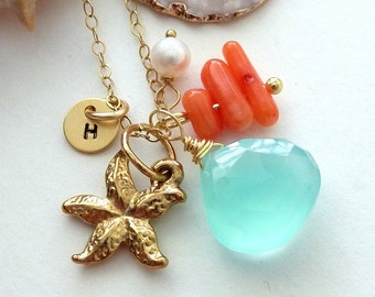 Custom Stone and Initial - Aqua Chalcedony, Custom Initial Disc, Star Fish, Coral , Pearl Necklace in 14k Gold Filled Chain
