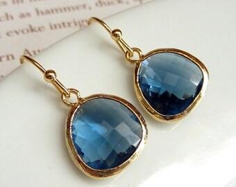 Simple Montana Blue Glass Gold Bezel Setting Earrings