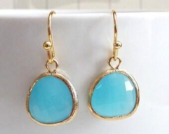 Simple Ocean Blue Glass Gold Bezel Setting Earrings