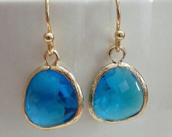 Simple Capri Blue Glass Gold Bezel Setting Earrings