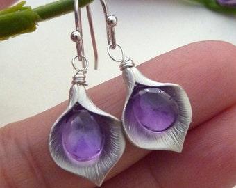 Custom Stone - Calla Lily Flower, Purple Amethyst Sterling Silver Earrings