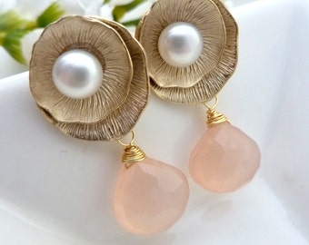 Rose Quartz Chalcedony with 16K Gold Plated Lotus Leaf Pearl Post Earrings