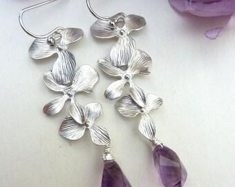 Purple Brazil Amethyst Silver Triple Orchid Earrings