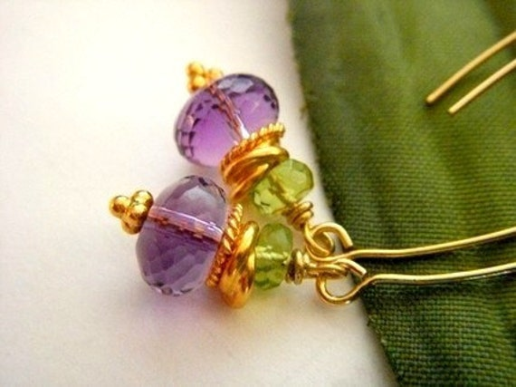Amethyst Peridot Gold Vermeil Yellow Gold Plated Long Lotus Earrings