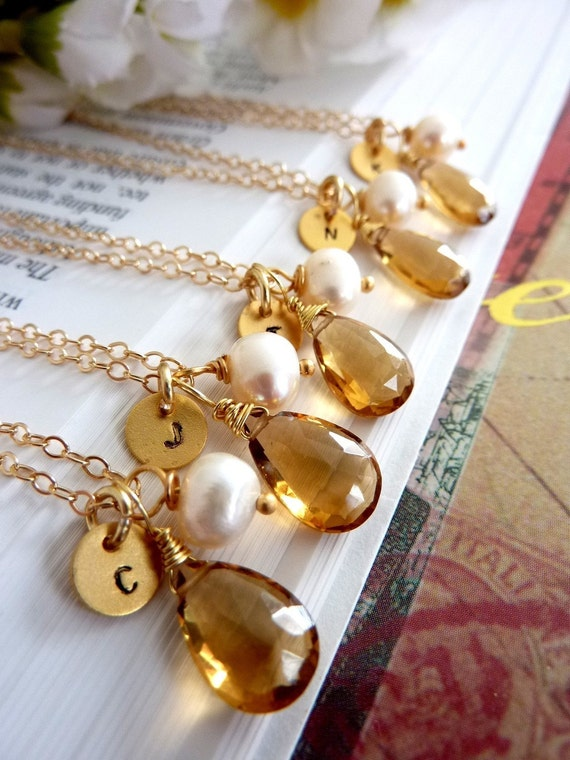 CUSTOM INITIAL AND STONE - AAA GOLDEN CITRINE CUSTOM INITIAL GOLD DISC PEARL in 14k Gold Filled Chain Necklace
