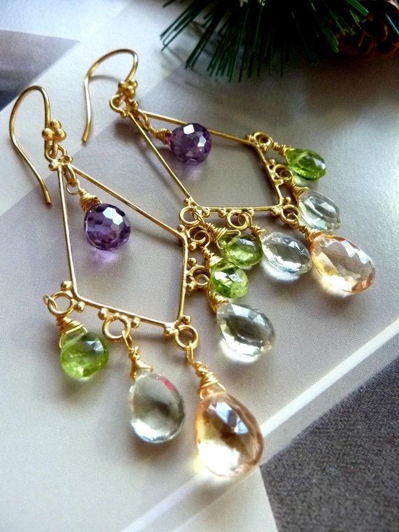Champagne Quartz, Green Amethyst, Peridot, Purple CZ Gemstone 24k Gold Vermeil Chandelier Earrings