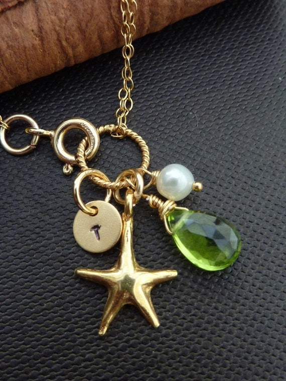 CUSTOM Initial and Stone Bracelet - Peridot, Pearl, Custom Initial Disc, Gold Vermeil Starfish Bracelet in 14k Gold Filled Chain