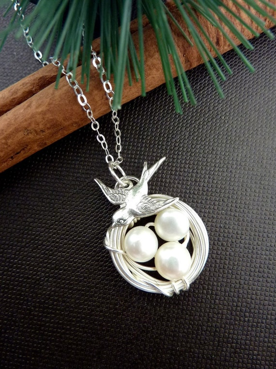 Original Version - Mom and Kids Birds Necklace - AAA Fresh Water Pearls Bird Nest Sparrow Bird Necklace in Sterling Silver Chain