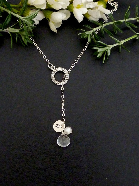 Custom Stone and Initial - Rock Crystal, Custom Initial Sterling Silver Disc, Pearl, Ring Lariat Necklace in Sterling Silver Chain