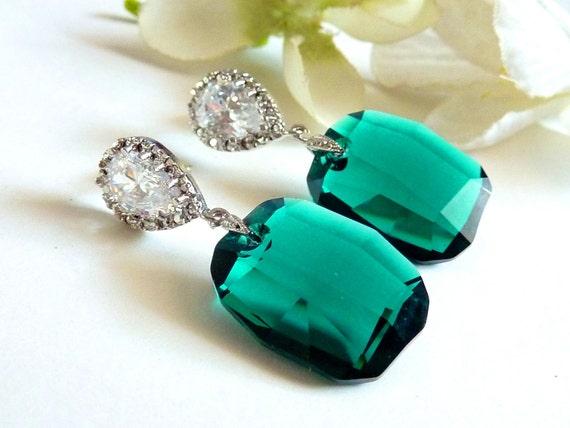 LAST ONE - Big Graphic Emerald Green Swarovski Crystal with Teardrop Cubic Zirconia Post Earrings