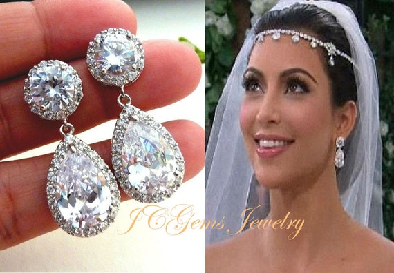 Wedding Bridal Earrings Kim Kardashian Inspired LARGE White Clear Pear Shaped Cubic Zirconia Round Stud Gold Plated