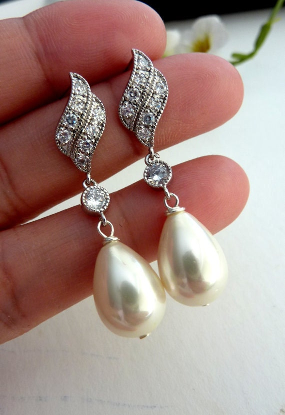 Bridal Earring - Ivory Cream Pearl, Round CZ Drop with White Gold Plated Leaf Cubic Zirconia Post Earring