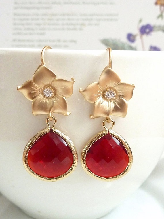 Large Red Glass Quartz Gold Bezel Setting with Gold Plated Cubic Zirconia Flower Earrings