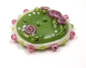 Handmade lampwork glass button  -  Romantic Roses -  olive, pink, cream, shabby chic button, quilt button