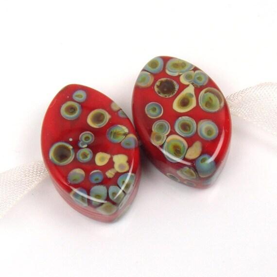 Lampwork glass beads    RED RAKU    zulu shaped pair