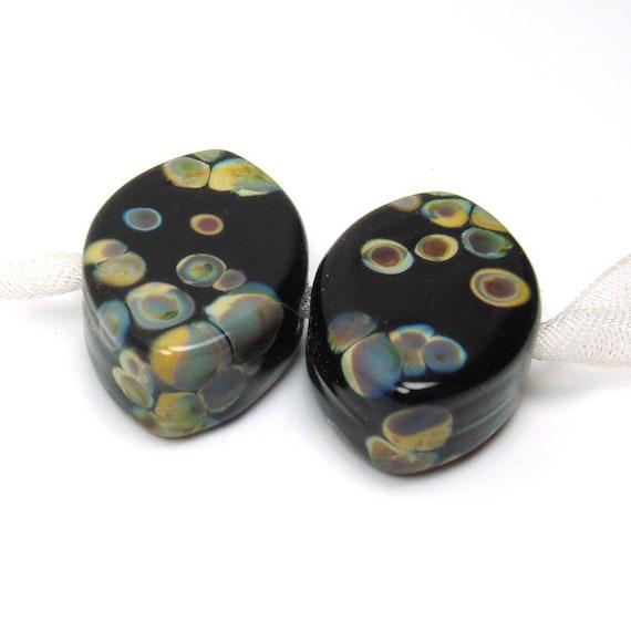 Lampwork glass beads    Raku on Black    zulu shaped pair, glass beads, earring pair