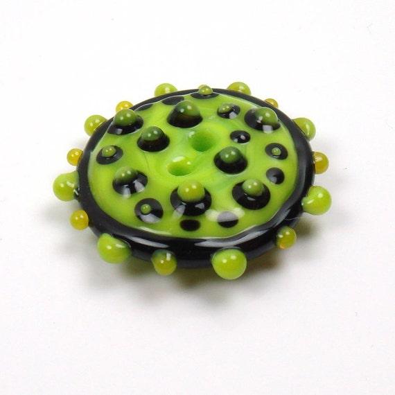 Handmade lampwork glass button  -  Gooseberry -  bright lime, black, folk button