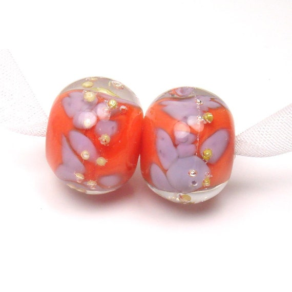RESERVED for Jen  -   lampwork beads -  Purple on Orange  -   tangerine, violet, silver wire, loose glass beads