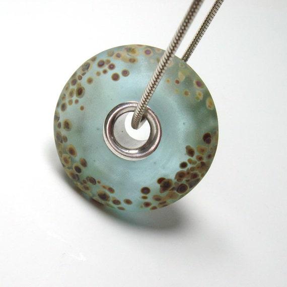 Handmade lampwork bead  -  Raku on Aqua big hole bead  -  etched bead, slider, silver cored bhb