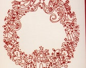 KIT - Christmas Treasures Wreath - redwork stitchery KIT from Rosalie Quinlan