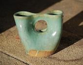 double bud vase in sea foam green