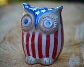 Handmade  ceramic patriotic owl 4th of july